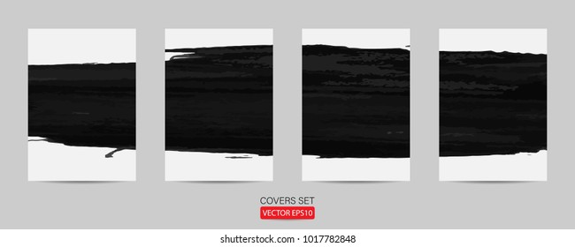 covers set. poster template grunge design. banner template for promotion hand drawn painted scratched vector Illustrations template of Grunge abstract background brush texture promotion. Eps10 vector