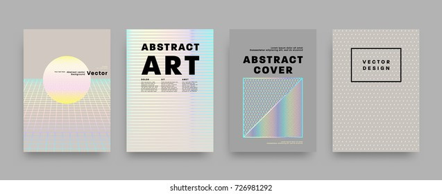 Covers templates set with bauhaus, memphis and hipster style graphic geometric holographic, anaglyph 3d elements. Applicable for placards, brochures, posters, covers and banners. Vector illustrations.