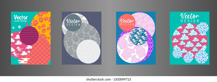 Covers templates set with Clouds and Patterns in Modern Style . Vector Illustration concept. Style Decorative  Applicable for placards, brochures, posters, covers and banners.