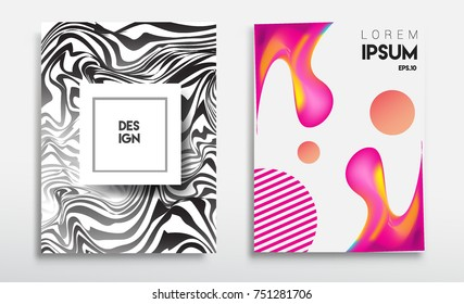 Covers templates set with liquid color, arrangement of abstract lines and style graphic geometric elements. Applicable for placards, brochures, posters, covers and banners. Vector illustrations.