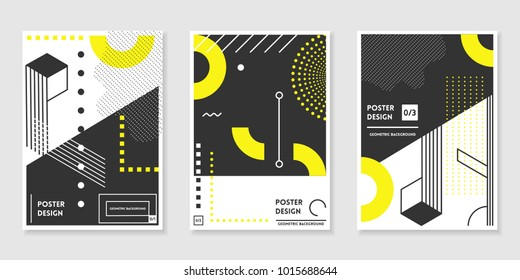 Covers templates set with trendy geometric patterns, yellow,black,white colors and memphis elements. Modern design for placards, posters, presentations and banners.