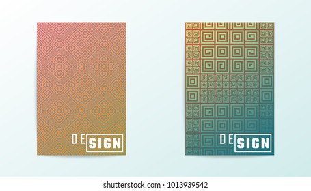 Covers vector design. Gradient meander pattern. Greek ornaments.