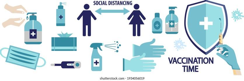 Covid 19 prevention icons. Medical mask, gloves, hand sanitizer bottles. Vector illustration