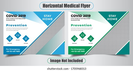 Covid health horizontal flyer for coronavirus Health Flyer Design Horizontal flyer design Business Flyer Design with nice background