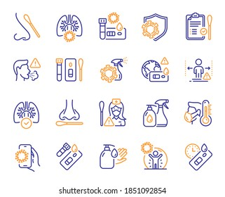 Covid Test line icons. Nasal swab, Blood testing, Waiting time. Social Distance, Hand Sanitizer, Rapid Antigen Test icons. Coronavirus protection, Pneumonia virus. Nose with cotton swab. Vector