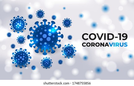 Covid-19 cells blue bacterial on a white medical vector background with typography. Coronavirus blue colored viral cells. Corona virus, covid19 realistic vector background.