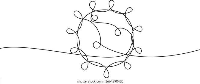 COVID-19 Strangsymbol. Konzept Coronavirus, Virus-Silhouette, Corona-Virus-Einschreibung eine einzige Zeile auf weißem Hintergrund, Linien-Zeichnung, Vektorillustration-Illustration.