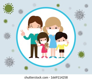 Covid-19 or Coronavirus 2019-nCoV  disease prevention concept with cartoon family wearing protective Medical mask for prevent virus Wuhan, flat design vector illustration