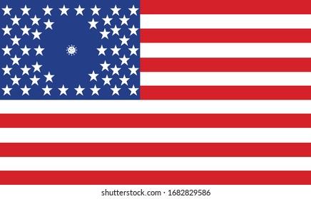 COVID-19 Coronavirus American Flag Social Distancing