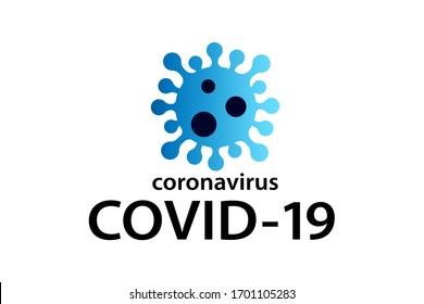 Covid-19 Coronavirus Konzept Inschrift Typografie Design Logo. Krankheit mit der Bezeichnung COVID-19, Abbildung der gefährlichen Vektorillustration von Viren