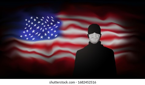 COVID-19 coronavirus epidemic in usa. Silhouette of man in medical mask on abstract usa flag background. Global COVID-19 coronavirus pandemic, pneumonia. American background for banner design. Vector