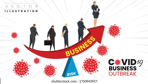 COVID-19 Coronavirus outbreak financial crisis in company and business. businessman getting trouble. economic collapse from COVID-19. Falling business Concept