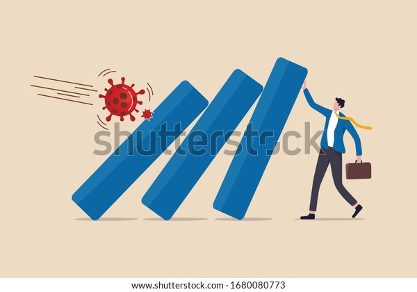 COVID-19 Coronavirus outbreak financial crisis help policy, company and business to survive concept, businessman leader help pushing bar graph falling in economic collapse from COVID-19 virus pathogen