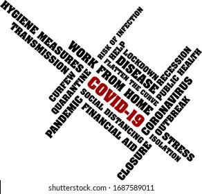 covid-19 coronavirus pandemic wordcloud vector illustration isolated on white