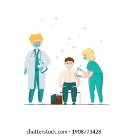 Covid-19, coronavirus people vaccination poster. Businessman got a vaccine from a doctor, nurse. Vector stock illustration isolated on white background for banner, web template.