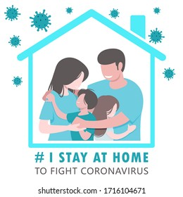 COVID-19 CORONAVIRUS I Stay at Home to Fight Coronavirus, To Prevent Infection and Spreading Virus, Family at Home, Father, Mother, Son, Daughter. Hug, Warm and Cozy Feeling Blue Tone Vector Graphics