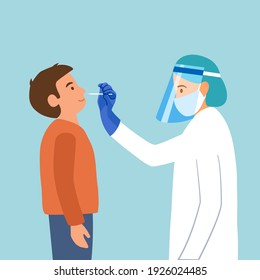 Covid-19 coronavirus testing carried out by a medical professional staff, doctor or nurse. A boy kids receiving a coronavirus test. DNA test by nose swap probe at hospital in flat design.