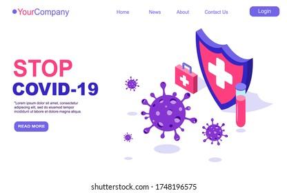 Covid-19 Coronavirus virus strain shield protect vaccine tube landing page template or homepage. quarantine from coronavirus. pandemic covid-19 outbreak. isometric vector illustration EPS