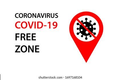 covid-19, Symbol für seuchenfreie Zone. Illustration CORONAVIRUS COVID-19 FREE ZONE Wort mit Stopp covid-19 Symbol auf rotem Pin Zone Symbol.