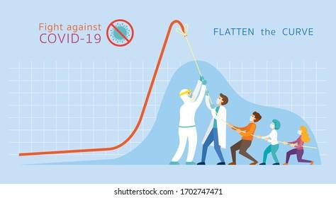 Covid-19 Flatten das kurve Konzept, Menschen stark zusammen, um Graph-Diagramm nach unten zu ziehen