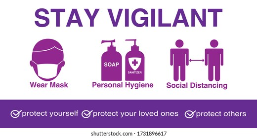 Covid-19 Healthcare Medical Stay Vigilant Sign Vector