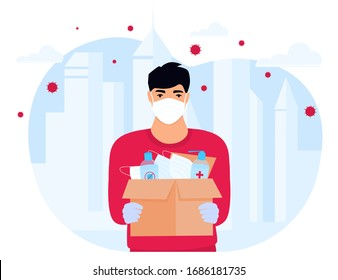 COVID-19. Humanitarian support. Supply of medical protective masks and disinfectants. Coronavirus epidemic. Delivery man delivering parcel