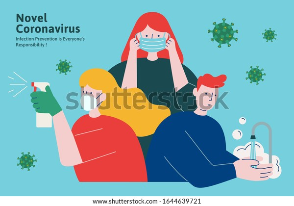 COVID-19 hygiene promotion with wearing a face mask, sanitizing with alcohol and washing your hands in flat style