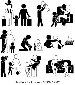 Covid-19 Pandemic. Family Time Together. Ethnically Diverse Concept. Stick Figure Pictogram Icon