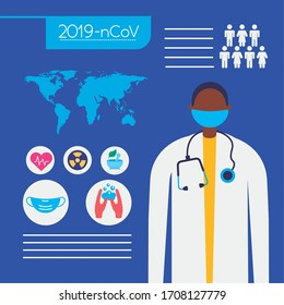 covid19 pandemic infographics with earth planet and doctor vector illustration design