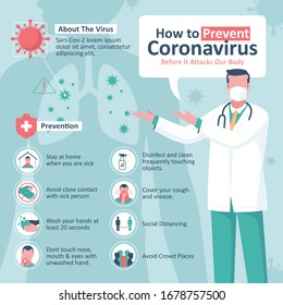 Covid-19  Prevention Infographic with icons and doctor using masker. Coronavirus Outbreak Tips