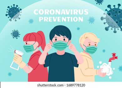 COVID-19 prevention promo design, with precautions of wearing protective face masks, washing hands and using disinfectant