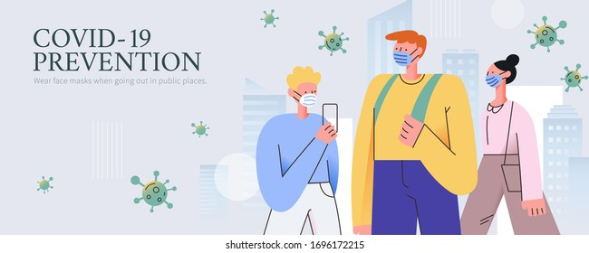 COVID-19 prevention promotion banner, with 3 stylish people safely walking through the city while wearing masks to prevent potantial infection