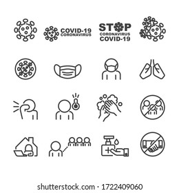 Covid-19 and Protect icons set,Vector