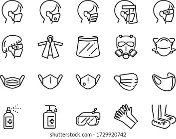 Covid-19 protection equipments line icon set. Included icons as face mask, 3d mask, face shield,  alcohol gel, ppe suite.