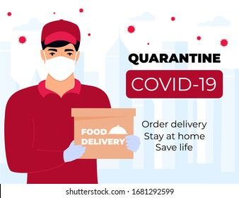 COVID-19. Quarantine in the city. Coronavirus epidemic. A courier in a protective medical mask holds parcels in his hands. Free food delivery. Stay home.