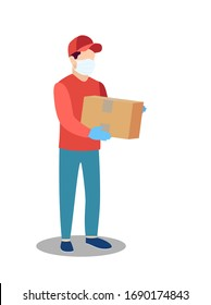 COVID-19. Quarantine in the city. Coronavirus epidemic. Courier man in a protective medical mask holds a parcel in his hands. Free food delivery. Stay home