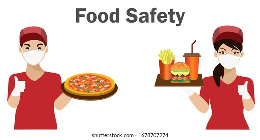 COVID-19 Safety food concept. Waiter and waitress wearing hygiene hands gloved and face mask,holding tray of fast foods. Idea for safety fast food during COVID-19 outbreak, quarantine and prevention.