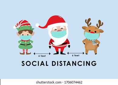 COVID-19 and social distancing infographic with cute Christmas cartoon character. Santa Claus, little elf and reindeer with surgical mask in flat style. Corona virus protection. -Vector