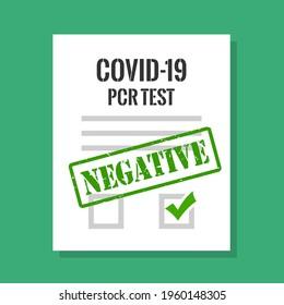 Covid-19 test negative result certificate, vector illustration