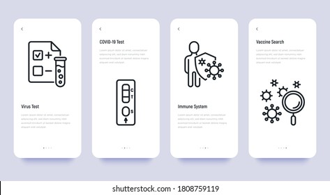 Covid-19 testing thin line icons set: blood test, laboratory test, immune system, searching of vaccine. Vector illustration, template with copy space.
