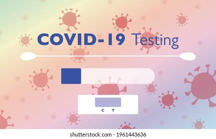 Covid-19 testing tools - testing stick, testing tube and indicator - vector illustration