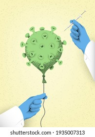 Covid-19 vaccination campaign concept vector illustration, a metaphor where virus vanishes as a balloon popped by a needle of the syringe in doctors hands