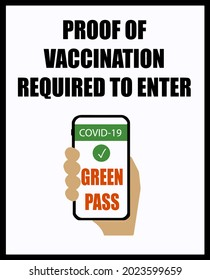 Covid-19 vaccination certificate , also known as green pass in Europe, is required to enter. Information and warning sign.
