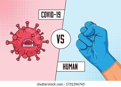 Covid-19 vs Human. Fight coronavirus concept with red cartoon virus bacteria versus human raised fist in blue protective medical glove. Vector illustration