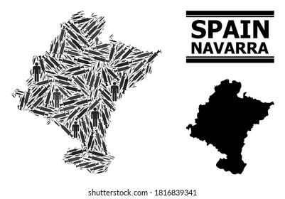 Covid-2019 Treatment mosaic and solid map of Navarra Province. Vector map of Navarra Province is shaped with injection needles and people figures. Collage is useful for pandemic purposes.