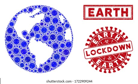 Covid-2019 virus mosaic Earth globe and seal stamps. Red rounded lockdown grunge seal stamp. Vector covid pathogen icons are composed into collage Earth globe. Vector combination for quarantine,