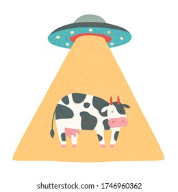 Cow abducted by aliens on a spaceship.