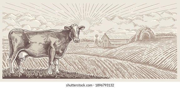 Cow, against the background of a rural landscape with a farm, illustration in a graphic style.