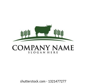 cow agriculture farm dairy product icon vector logo design template, a cow at a farm land and wheat field