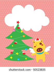 cow angel christmas greeting tag